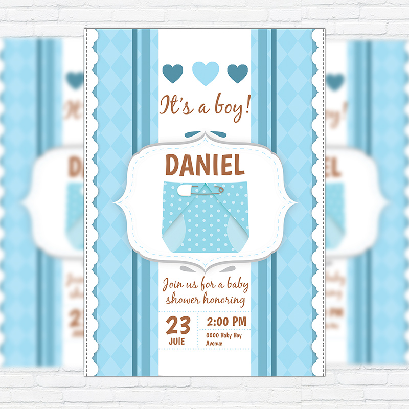 Baby Shower For Boy Premium Business Flyer Psd Template