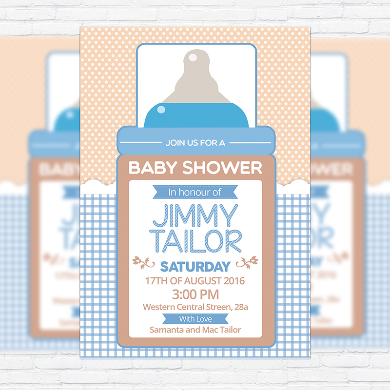 Baby shower for boy 2 premium business flyer psd for Baby shower decoration templates