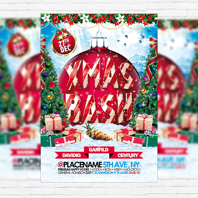 Download Free Xmas Bash – Premium Flyer Template + Facebook Cover