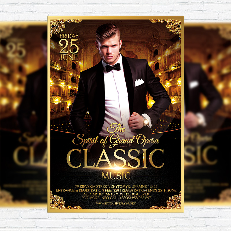 Classic Music Premium Flyer Template Facebook Cover