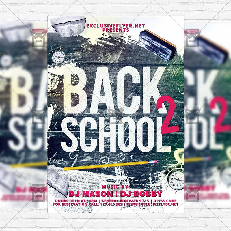 Back To School Party – Premium Flyer Template + Instagram Size Flyer