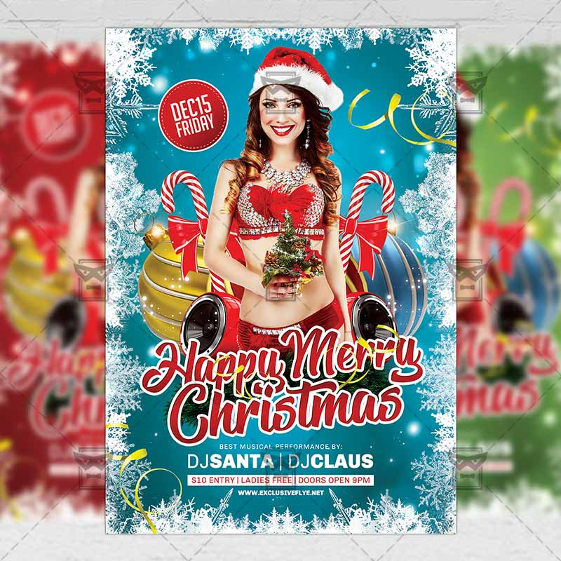 Download Free Happy Merry Christmas – Seasonal A5 Flyer Template