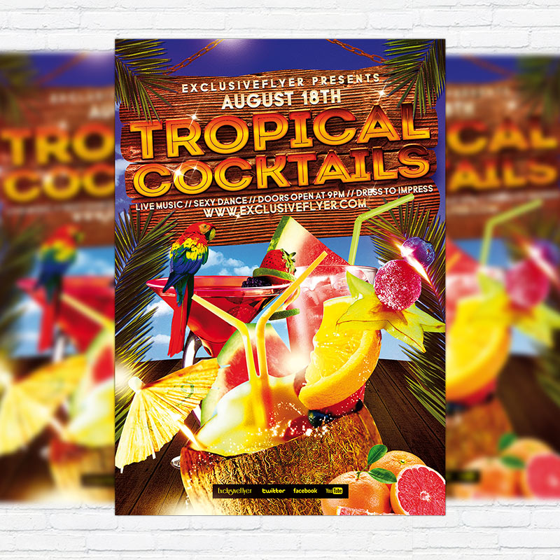 Tropical Cocktails Party - Free Club and Party Flyer PSD Template-1