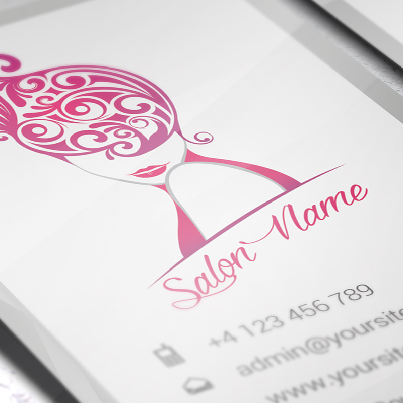 vertical beauty salon business card � premium business