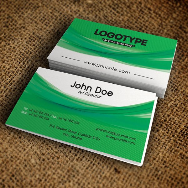 Corporate Green Business Card - Free PSD Template-1