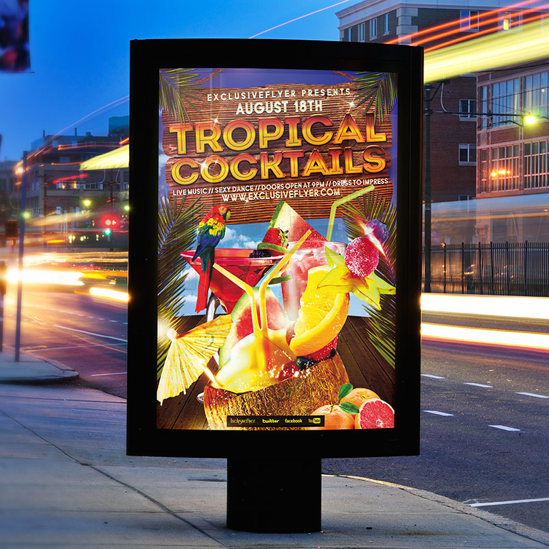 Tropical Cocktails Party - Free Club and Party Flyer PSD Template-2