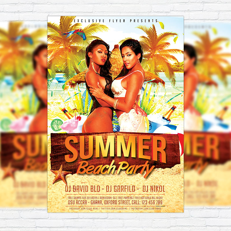 Summer Beach Party Vol  Premium Flyer Template  Facebook Cover