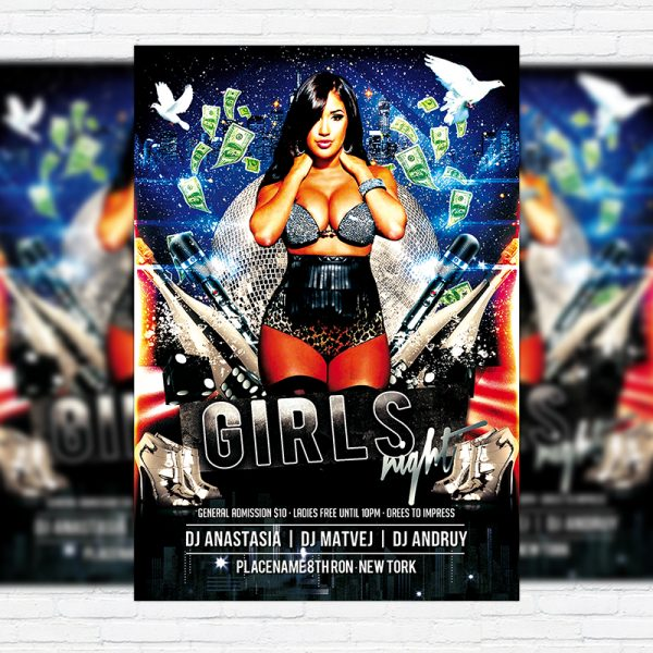 Girls Night - Free Club and Party Flyer PSD Template-1