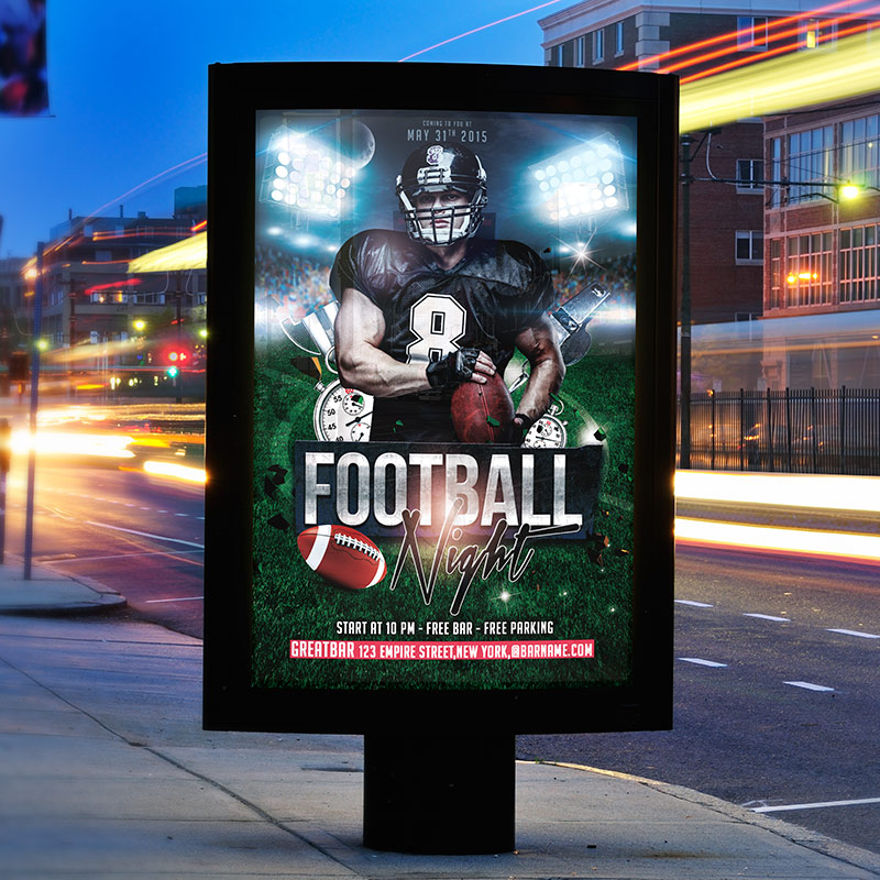 Football Night - Free Club and Party Flyer PSD Template-2