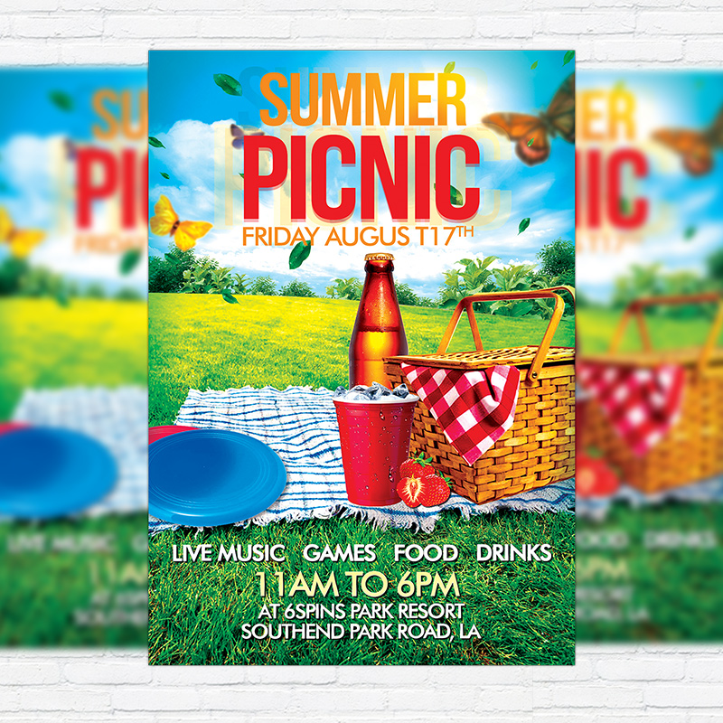 Summer Picnic Premium Flyer Template Facebook Cover