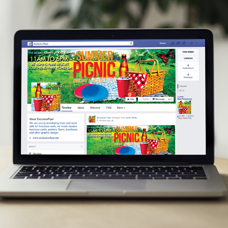 Summer Picnic Premium Flyer Template Facebook Cover – Picnic Flyer Template
