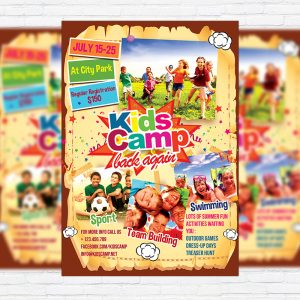 Kids Summer Camp - Premium Business Flyer PSD Template-1