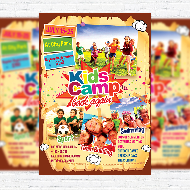 Kids Summer Camp Premium Business Flyer Psd Template