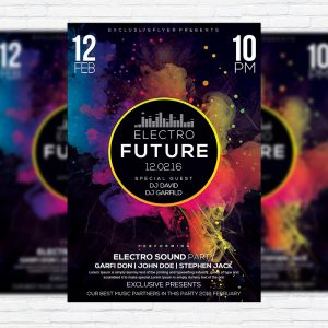 Electro - Premium Flyer Template + Facebook Cover-1