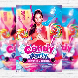 Candy Party - Premium Flyer Template + Facebook Cover-1