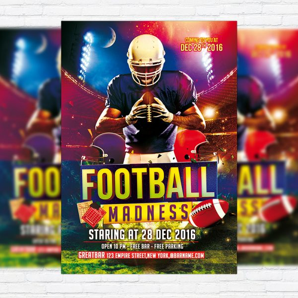 Football Madness - Free Club and Party Flyer PSD Template-1