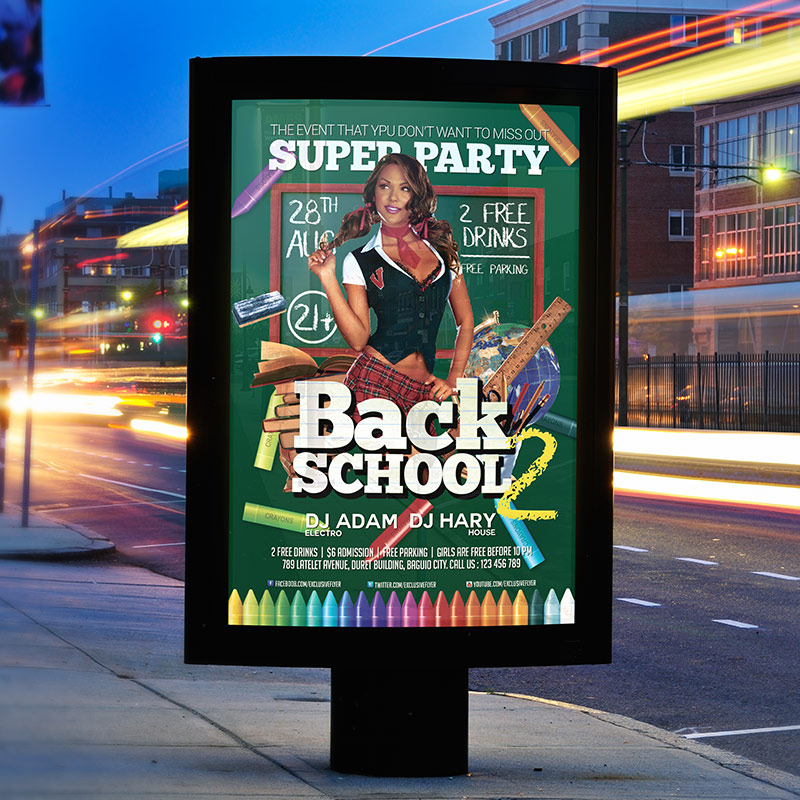 Back To School Party – Premium Flyer Template + Facebook Cover