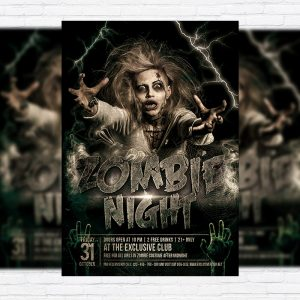 Zombie Night - Premium Flyer Template + Facebook Cover-1
