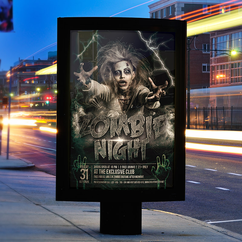 Zombie Night – Premium Flyer Template + Facebook Cover