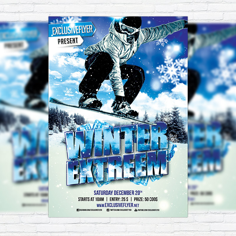 Winter Extreme Sport  Premium Flyer Template  Facebook Cover