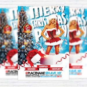 Merry Christmas Party - Premium Flyer Template + Facebook Cover