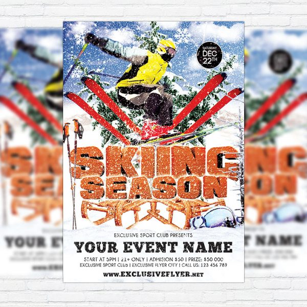 Skiing Season - Premium Flyer Template + Facebook Cover