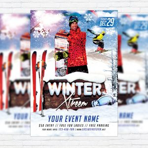 Winter Extreme - Premium Flyer Template + Facebook Cover