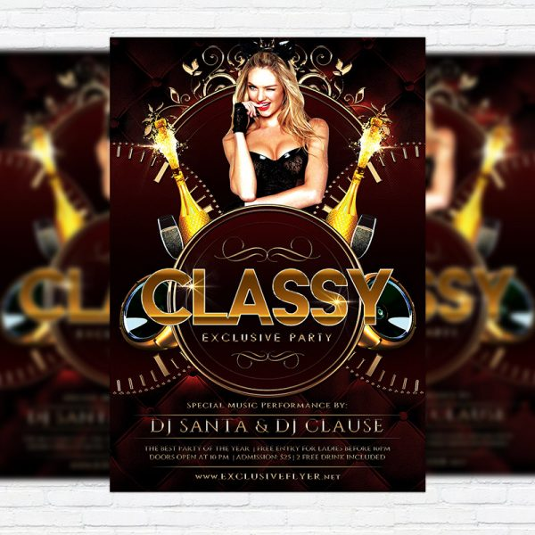 Classy Exclusive Party - Premium Flyer Template + Facebook Cover