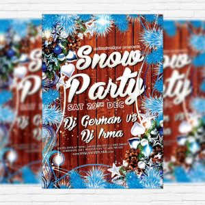 Snow Party - Premium Flyer Template + Facebook Cover