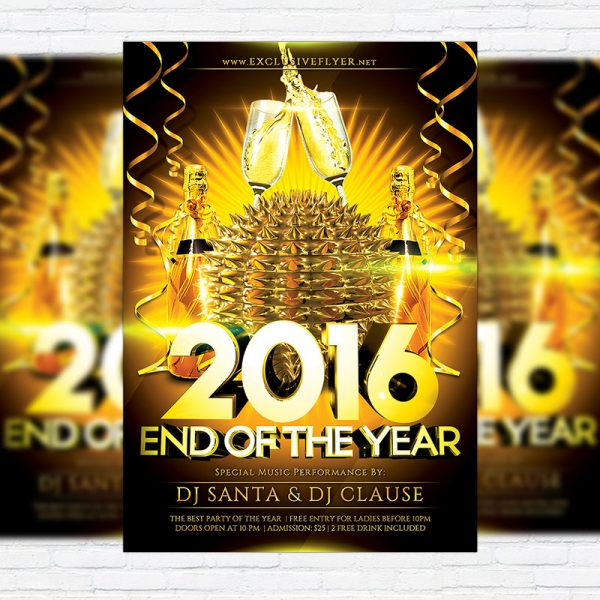 End Of The Year - Premium Flyer Template + Facebook Cover