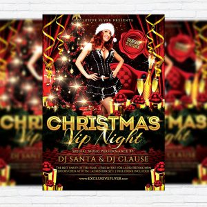 Vip Christmas Night - Premium Flyer Template + Facebook Cover