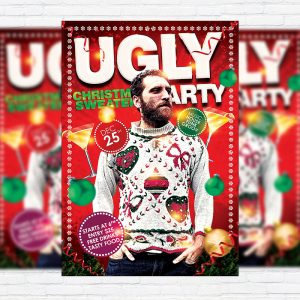 Ugly Christmas Sweaters Party - Premium Flyer Template + Facebook Cover