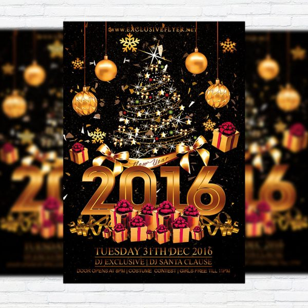 Happy New Year - Premium Flyer Template + Facebook Cover