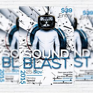 Sound Blast - Premium Flyer Template + Facebook Cover