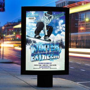 Winter Extreme Sport - Premium Flyer Template + Facebook Cover
