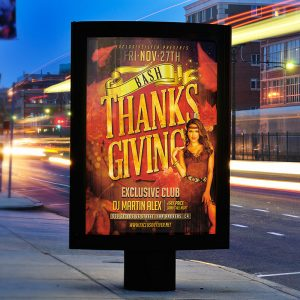 Thanksgiving Bash - Premium Flyer Template + Facebook Cover