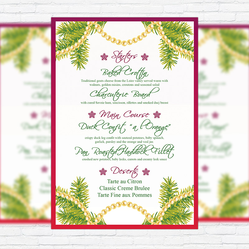 Christmas Menu Vol2 Premium A5 Menu Template – Christmas Menu Word Template
