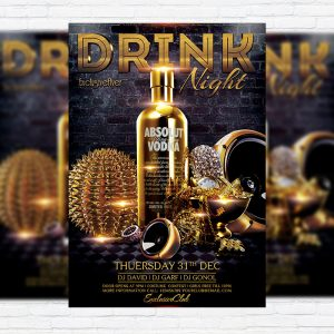 Drink Night - Premium Flyer Template + Facebook Cover