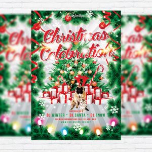 Christmas Celebration - Premium Flyer Template + Facebook Cover