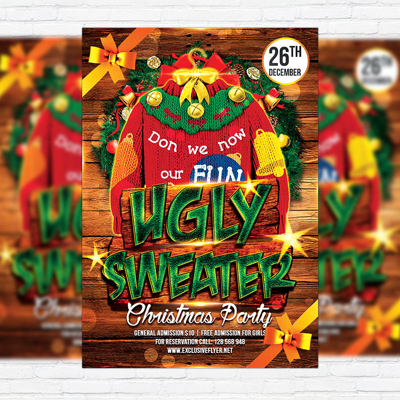 Ugly Sweater Party Premium Flyer Template Facebook Cover - Ugly sweater flyer template free