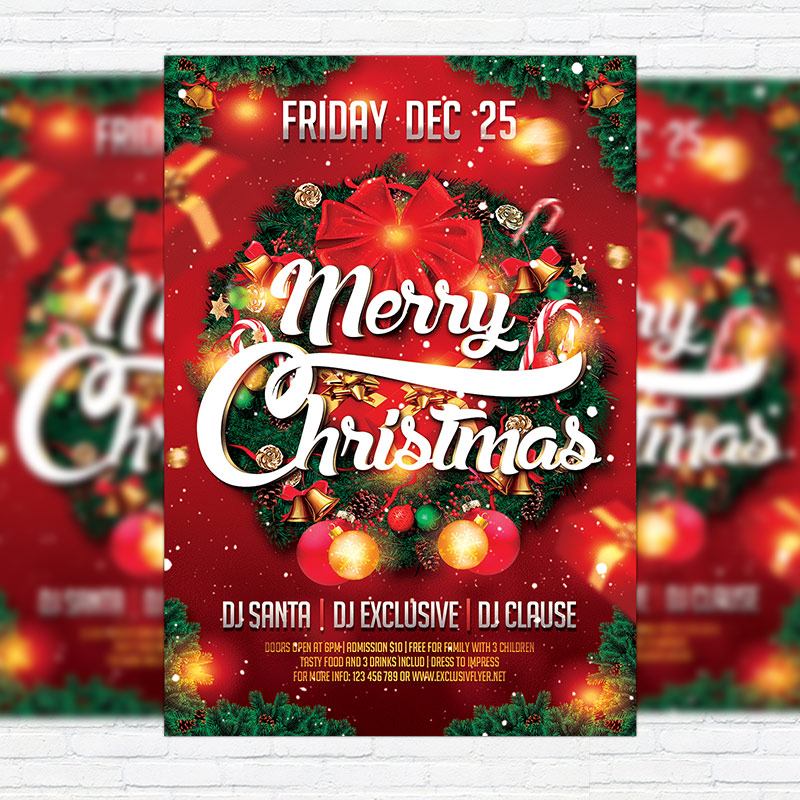 Merry christmas premium flyer template facebook cover exclsiveflyer free and premium psd for Merry christmas flyer