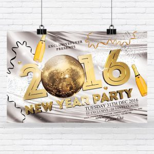 2016 New Year Party - Premium Flyer Template + Facebook Cover