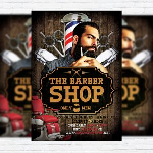 Barber Shop - Premium Flyer Template + Facebook Cover