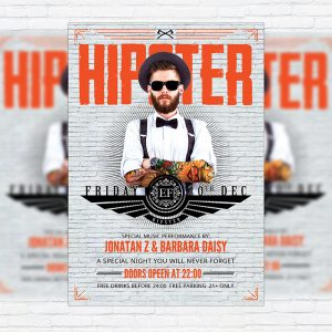 Mister Hipster Night - Premium Flyer Template + Facebook Cover