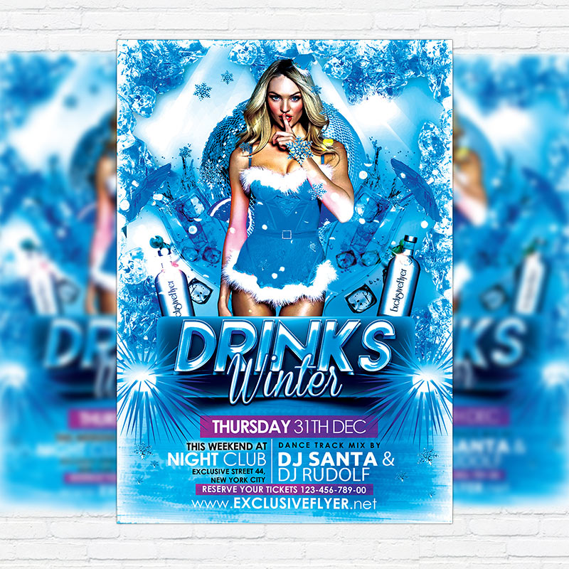 Winter Drinks  Premium Flyer Template  Facebook Cover