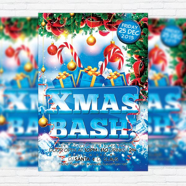 Christmas Bash - Free Club and Party Flyer PSD Template