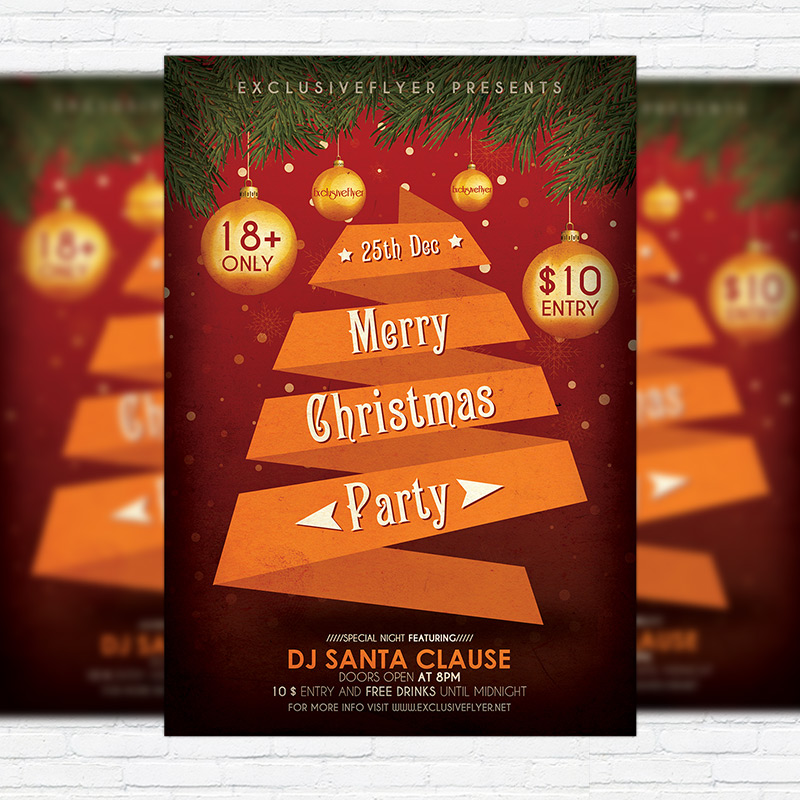 Merry Christmas Party - Free Club and Party Flyer PSD Template