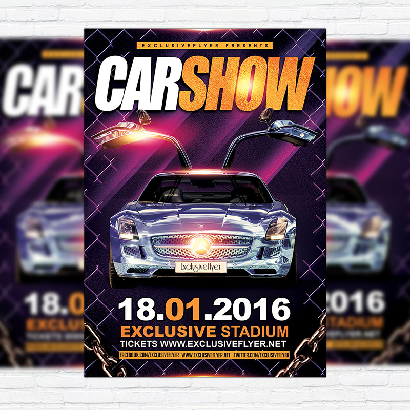 Car Show   Premium Flyer Template + Facebook Cover  Car Flyer Template