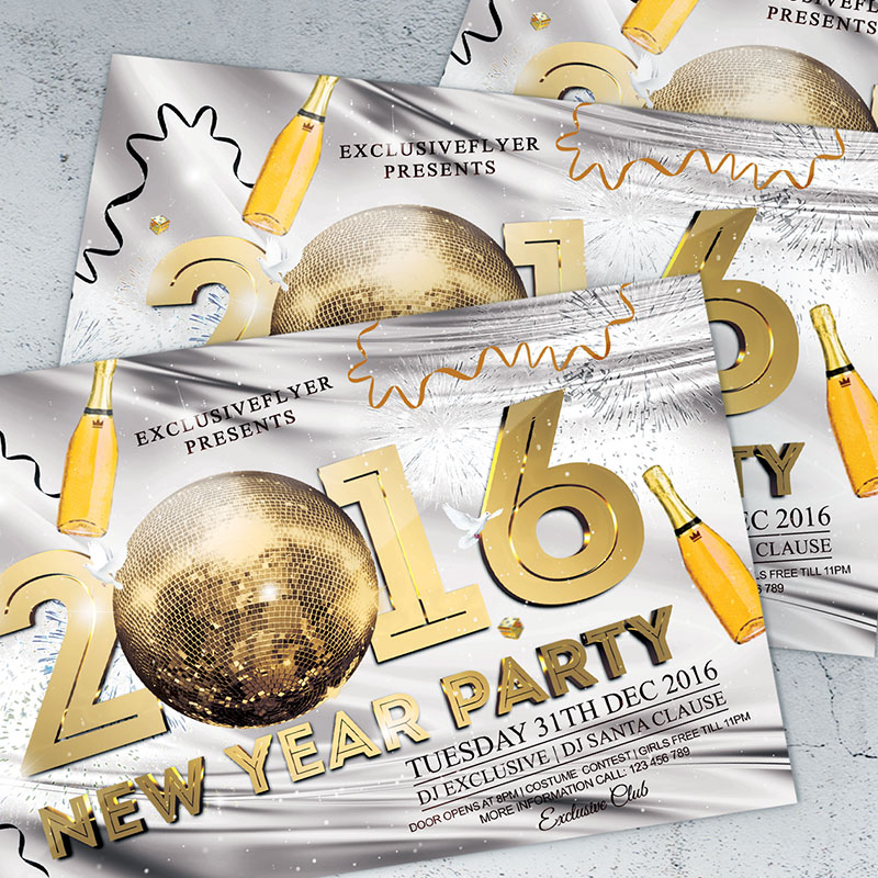 2016 New Year Party – Premium Flyer Template + Facebook Cover ...