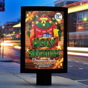 Ugly Sweater Party - Premium Flyer Template + Facebook Cover